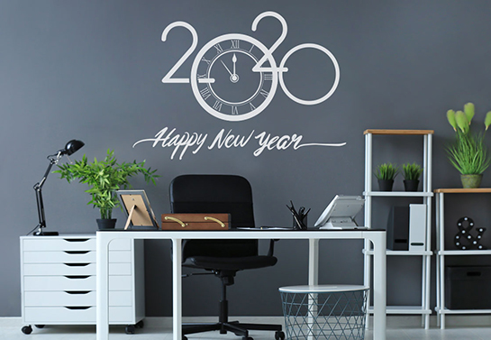 2020 happy new year office wall decoration idea