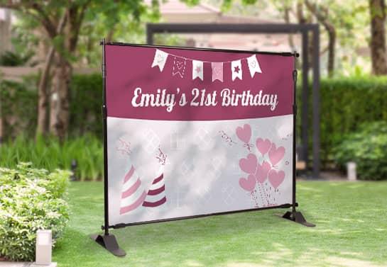 21st birthday banner idea in girly color scheme