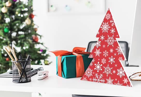 cute way to decorate your desk for Christmas with a 2D Christmas tree