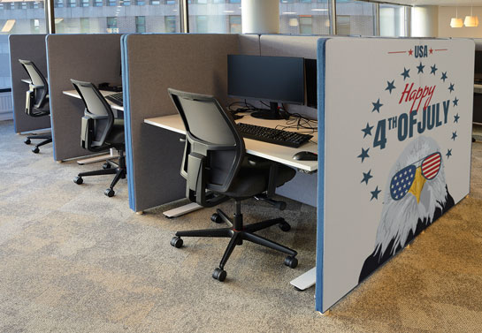 Happy 4th of July office cubicle decor idea