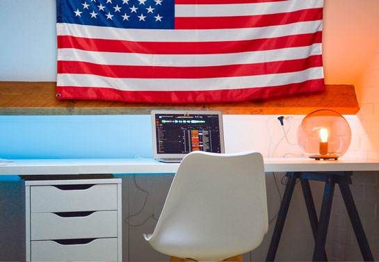 US flag patriotic decor idea at office space