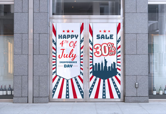 Holiday window decoration for 4th of July with the colors of flag