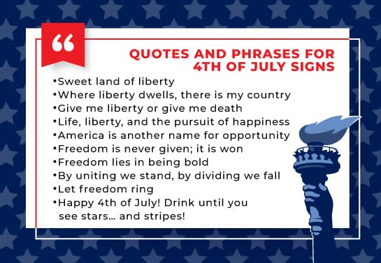 4th of July phrase and quote collection
