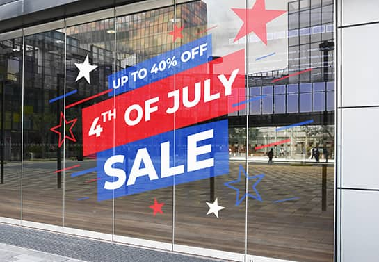 window 4th of July decoration idea displaying 40% sale