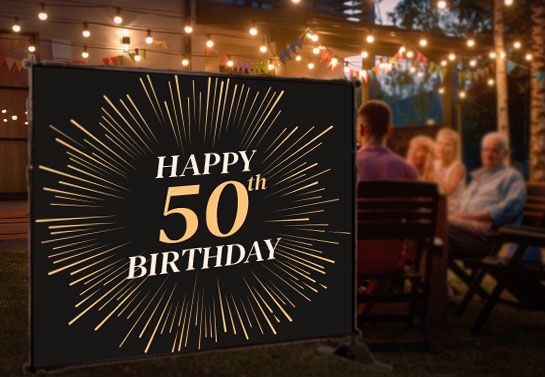 50th birthday banner idea in black and gold