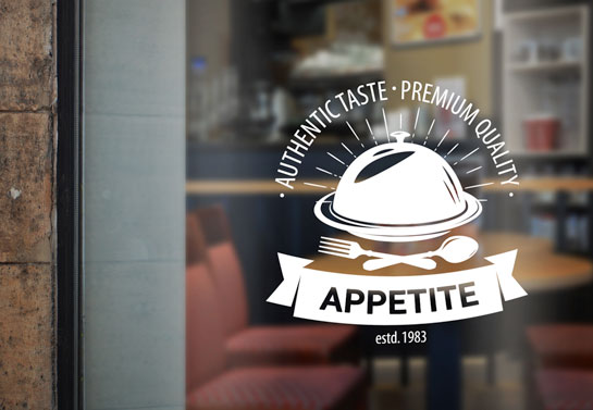 Appetite restaurant logo printed on the front window