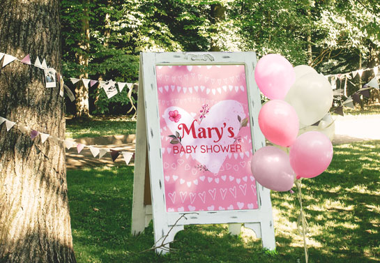 Mary's Baby Shower backyard party decorations