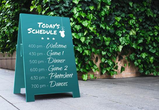 Backyard baby shower idea with schedule