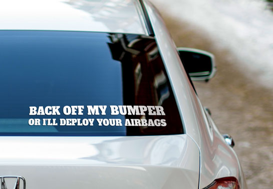 Back Off cool rear window decal