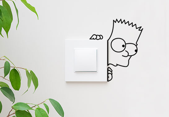 Bart Simpson lightswitch funny  sticker for living room