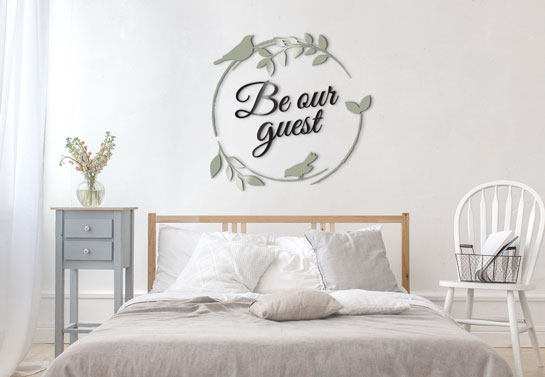 Be Our Guest welcoming home office guest room wall decor idea