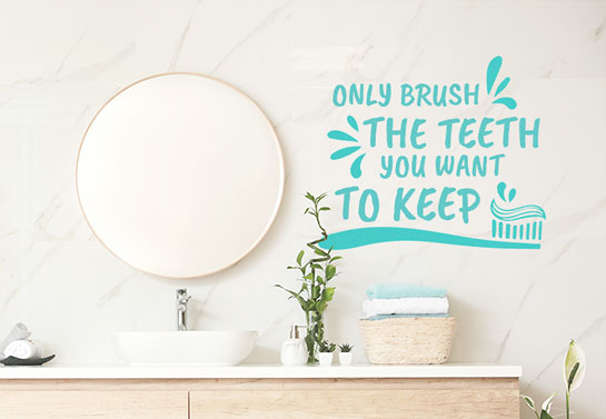 Helpful and funny bathroom wall decal