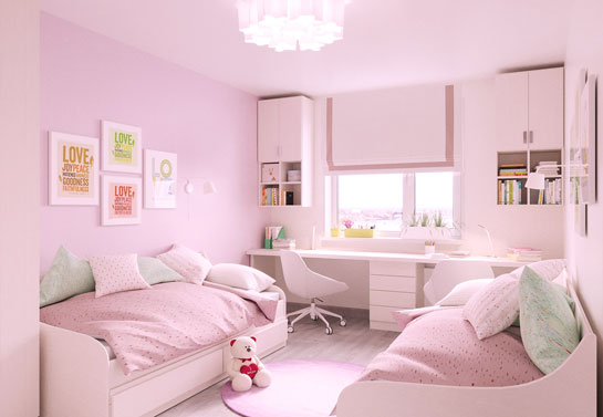 Blush tone girly home office