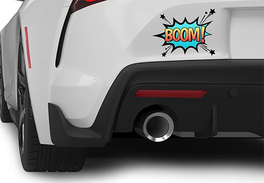 BOOM! bumper sticker idea