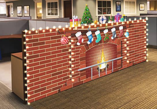 funny Christmas cubicle decorating idea with brick wall sticker