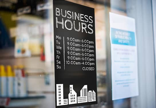 Business Hours window signage