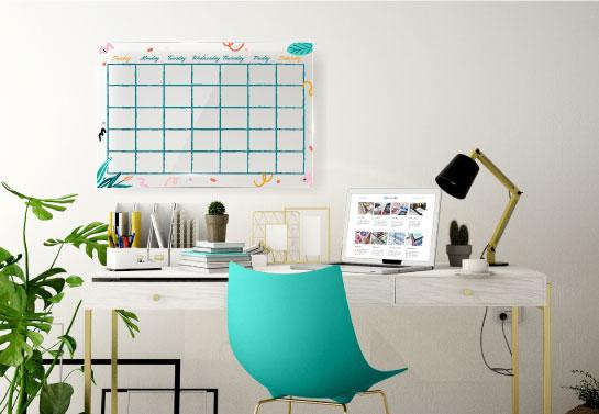 creative home office decor with a calendar for notes