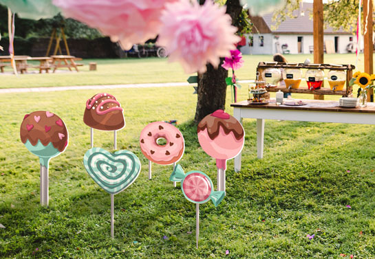 Candy shaped outdoor birthday party decoration