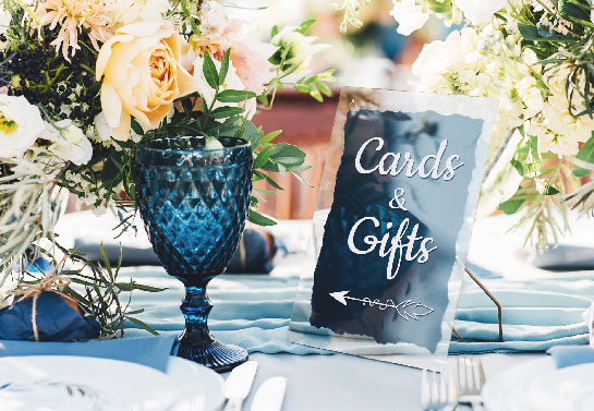 Cards and Gifts wedding gift table sign idea with an arrow