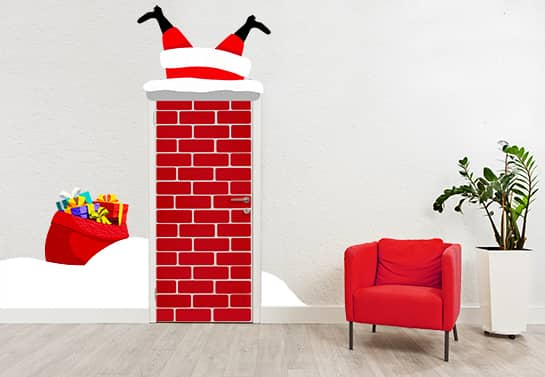 funny Christmas decorating ideas for office door with Santa in Chimney sticker