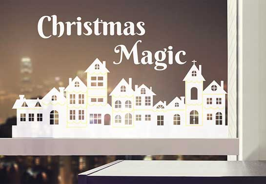Christmas Magic sticker to decorate an office window for Christmas