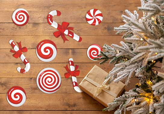 funny Christmas decorating idea with candy shapes