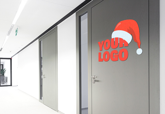 Logo sign idea on office door for Christmas