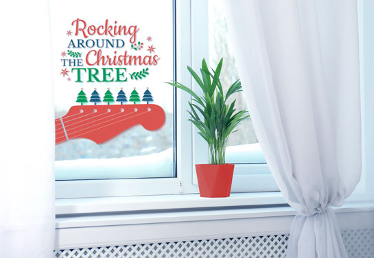 Christmas indoor window decoration idea with song lyrics print