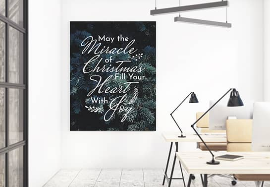 small office Christmas decorating idea with stickers