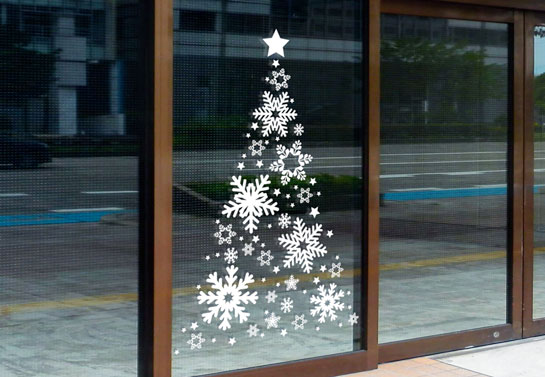 unique Christmas window decoration with white Christmas tree decal