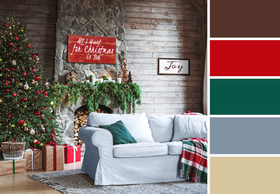Christmas decorations color palette in the style of celebrity Christmas decorated homes