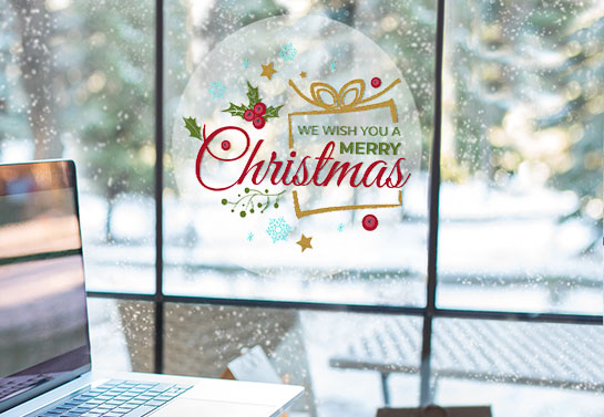 Cute decor to decorate an office window for Christmas