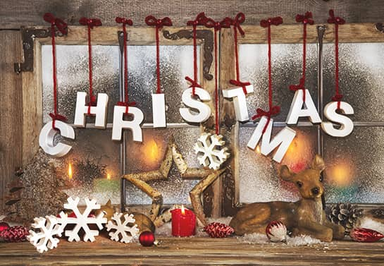 Christmas window cute decorating idea with wooden letters