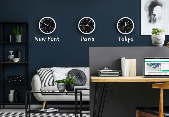office wall decor with clocks in different time zones