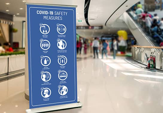 Covid-19 Safety Measures roll-up banner