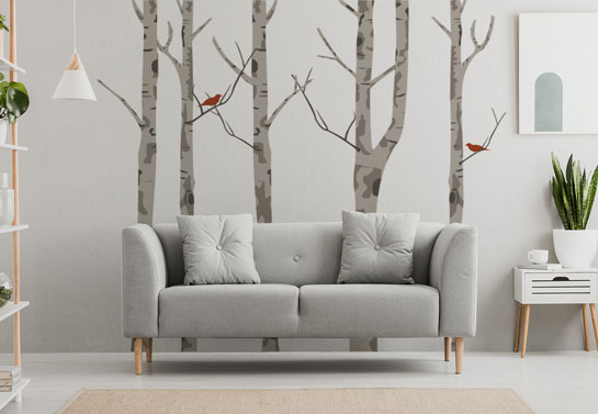 trees cute DIY living room accent wall decor idea