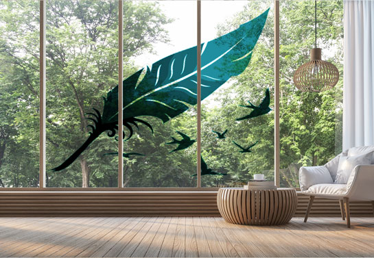 birds print DIY window decor idea for home
