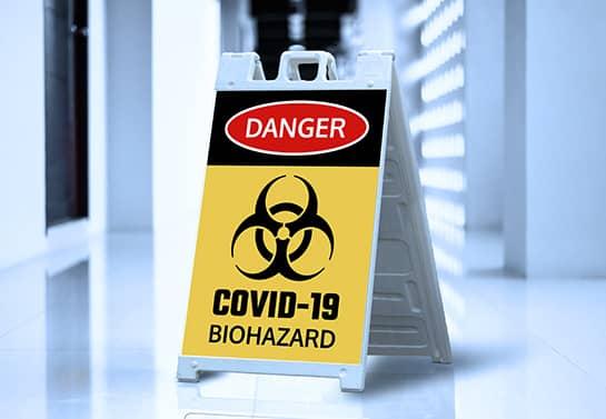 Danger Covid-19 Biohazard sign board option