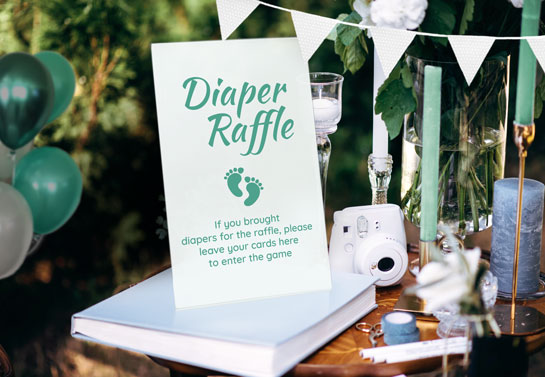 backyard baby shower idea for diaper raffle