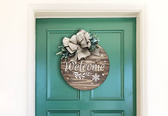 office holiday idea for door with a wooden decor