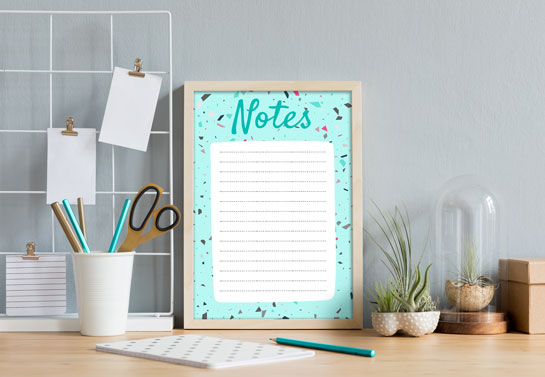 cool home office decor for notes