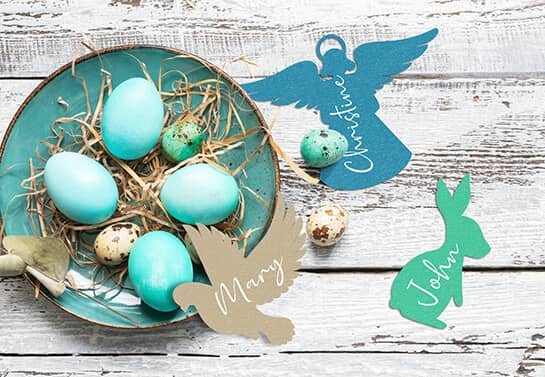 Easter decorative nameplates in different colors for decorating the table