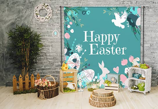 Easter-themed photo booth for home decorating