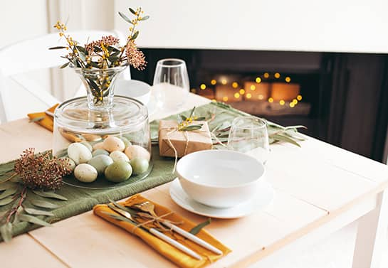 Easter table runner in green color for decorating the table