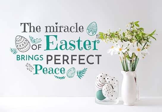 Easter wall decoration idea displaying a holiday themed quote