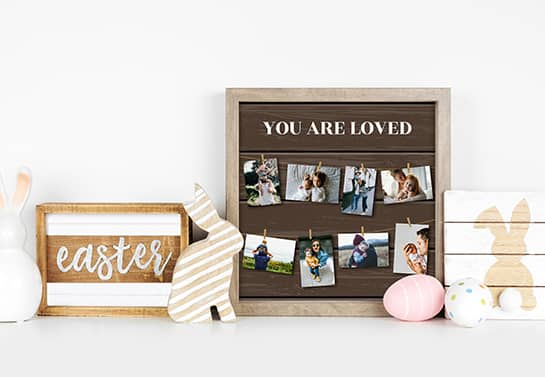 Easter wooden decoration idea with family photos displayed on the wall