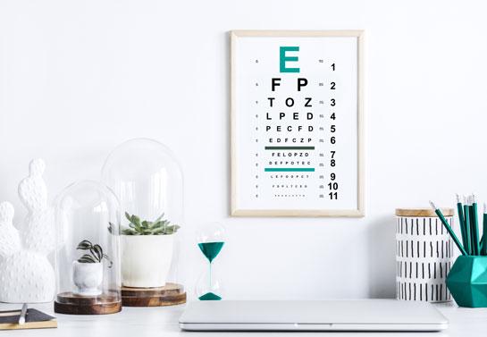 Fun home office wall art with eye chart