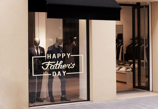 Happy Father's Day storefront window decoration