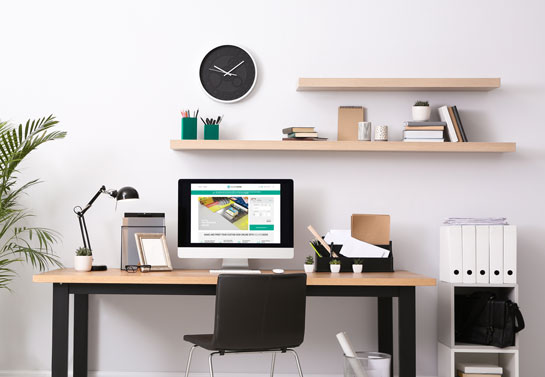 cool home office decor with floating shelves