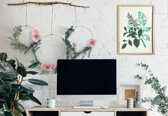 office wall art with floral decors